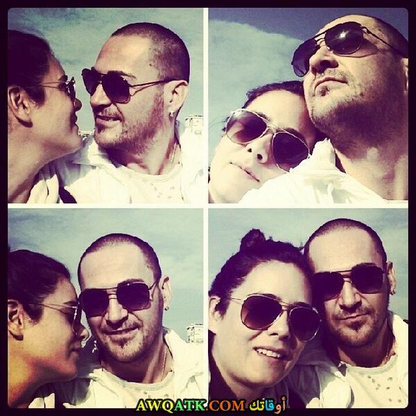 صورة مجمعة جميلة للفنانة التركية بنجي أوزتورك مع زوجها