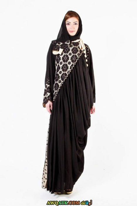 أجمل عباية خليجية سوداء فيزون مطرزة باللون الأبيض