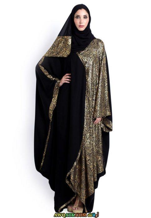 أشيك عباية خليجية سوداء اللون واسعة مطرزة بالذهبي