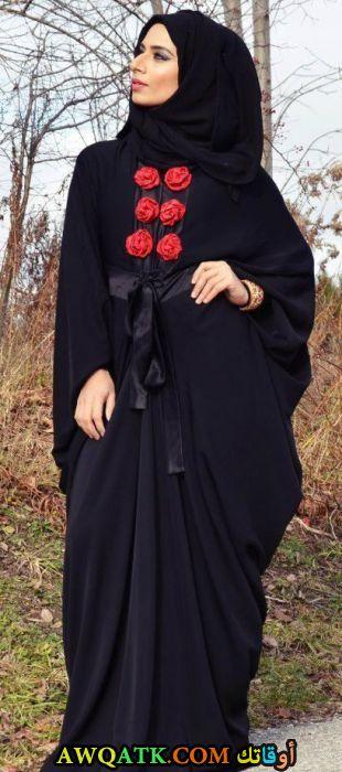 عباية جميلة جدا سوداء فراشة بحزام ستان