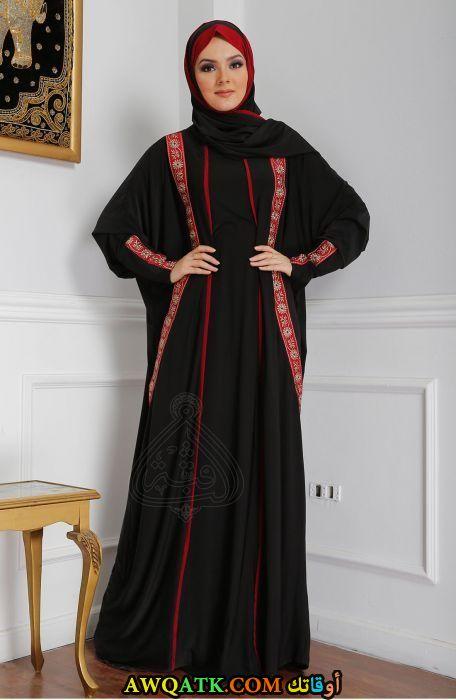 أجمل عباية حريمي سوداء بالطرحة مطرزة باللون الأحمر