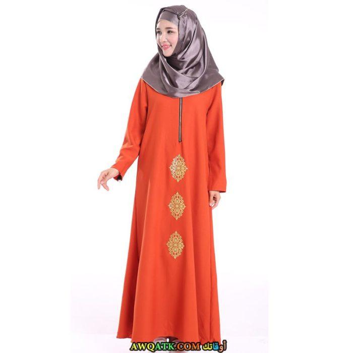 عباية خليجي باللون البرتقالي بسيطة للمحجبات