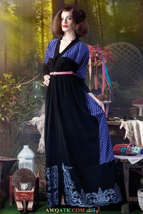 أجمل عباية سوداء مطرزة باللون الأزرق الرائع