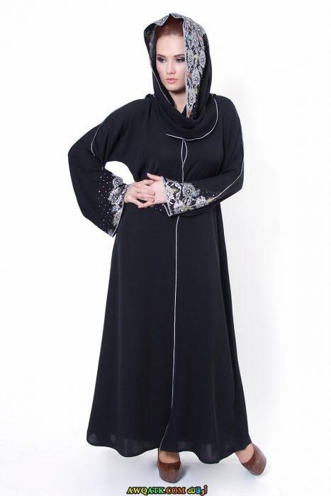 عباية خليجي سوداء مطرزة
