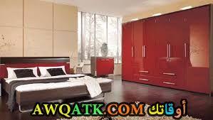 غرفة نوم باللون الأحمر الرمانسى والجذاب