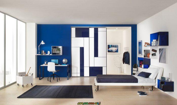 غرفة نوم زرقاء مودرن 2017