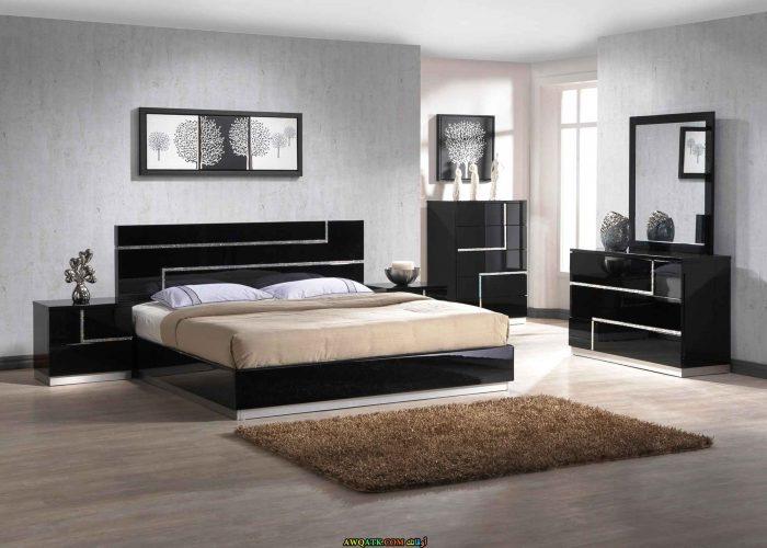 غرف نوم مودرن باللون الأسود والرمادي