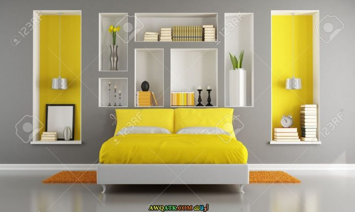 غرفة نوم شيك جداً صفراء