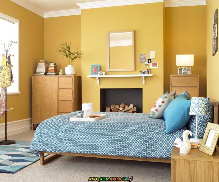 غرفة نوم مودرن صفراء روعة