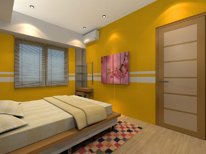 غرفة نوم بسيطة جداً باللون الأصفر