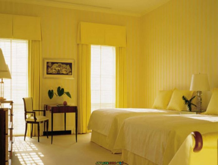 غرفة نوم مودرن صفراء 2017