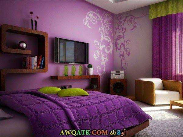 غرف نوم باللون الموف والبينك 2017
