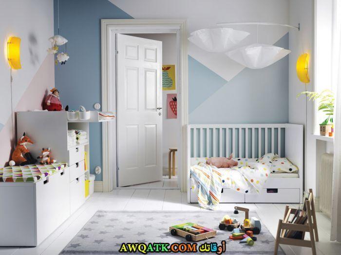 غرفة نوم ثري دي بيضاء جميلة