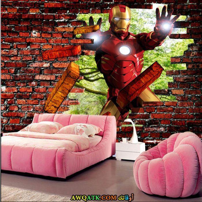 غرفة نوم ثري دي باللون الأحمر