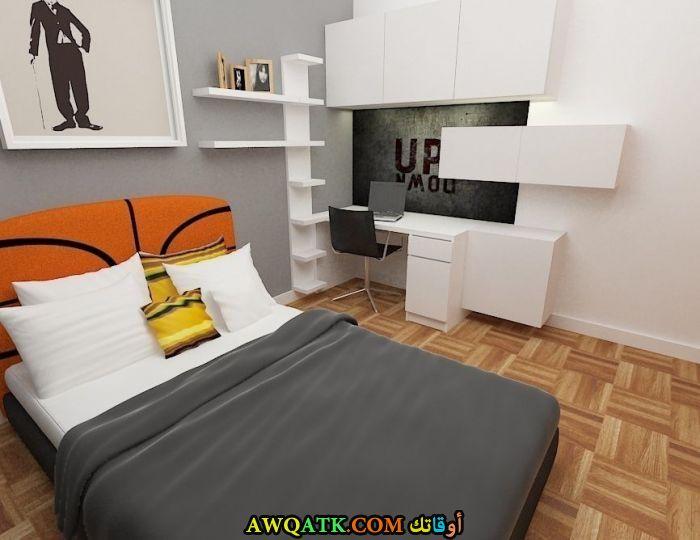 غرفة نوم ثري دي باللون الرمادي