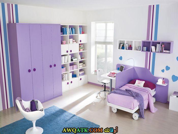 غرفة نوم ثري دي باللون الموف جميلة