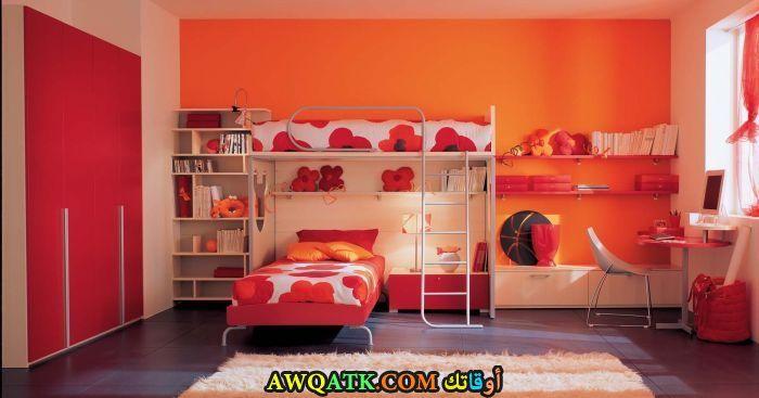 غرفة نوم حديد باللون البرتقالي