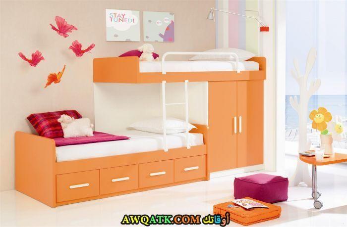 غرفة نوم حديد برتقالية
