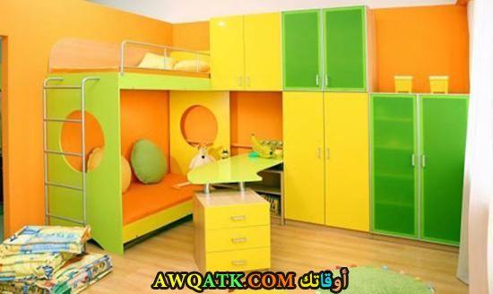 غرفة نوم شيك جداً باللون الأصفر