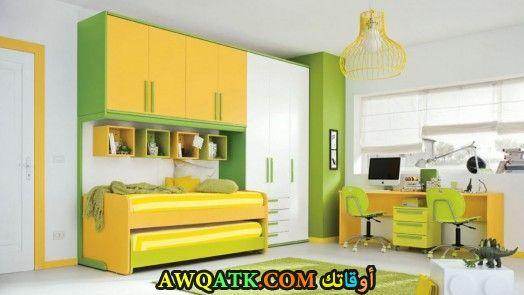 غرف نوم أطفال حوائط باللون الأخضر والأصفر