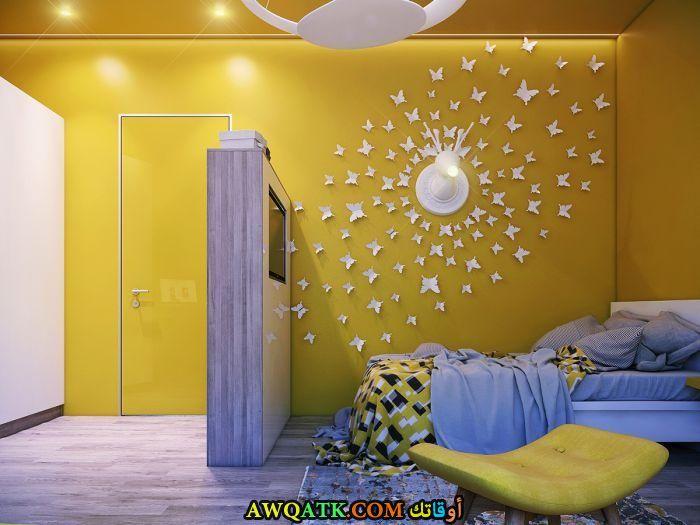 غرفة نوم أطفال باللون الأصفر روعة