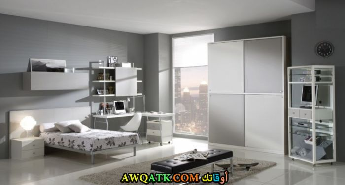 غرفة نوم شيك جداً باللون الرمادي