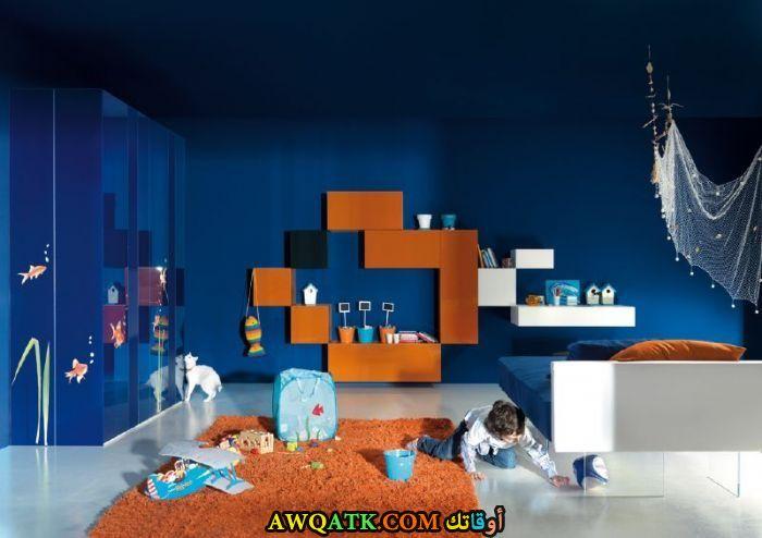 غرفة نوم زرقاء روعة
