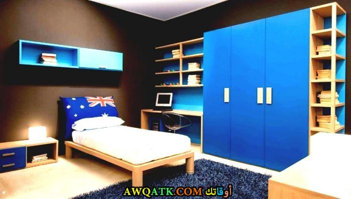 غرفة نوم باللون الأزرق شيك جداً