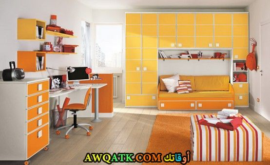 غرفة نوم برتقالية جميلة ورائعة