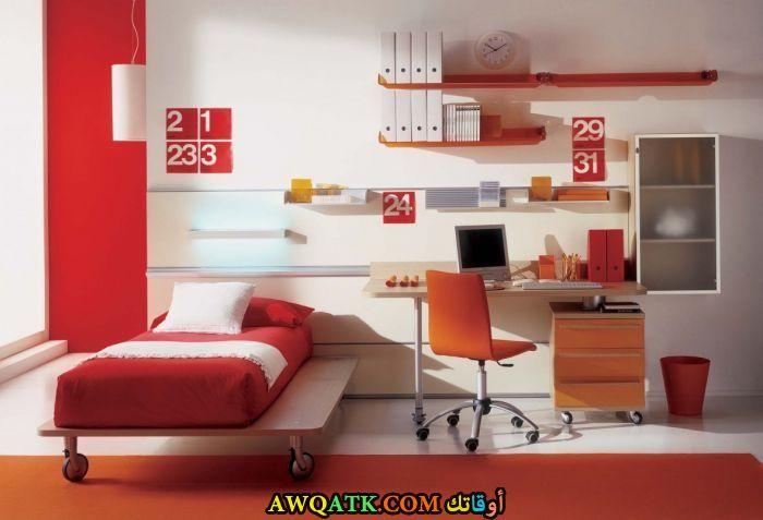 غرفة نوم مودرن باللون الأحمر