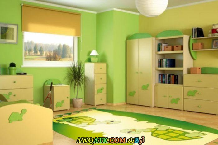 غرف نوم أطفال مودرن باللون الأخضر والأصفر