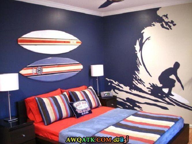 غرفة نوم زرفاء جميلة