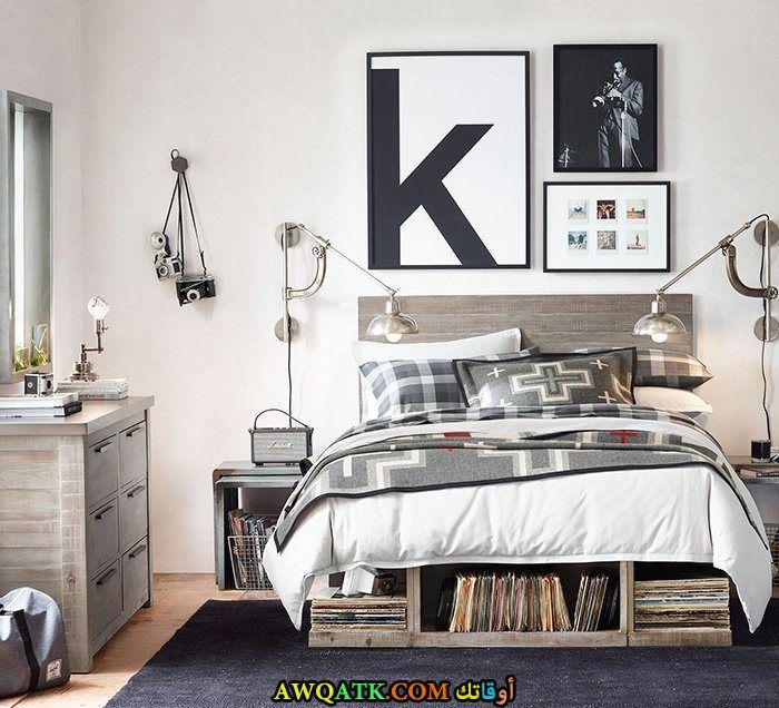 غرفة نوم رمادية جميلة