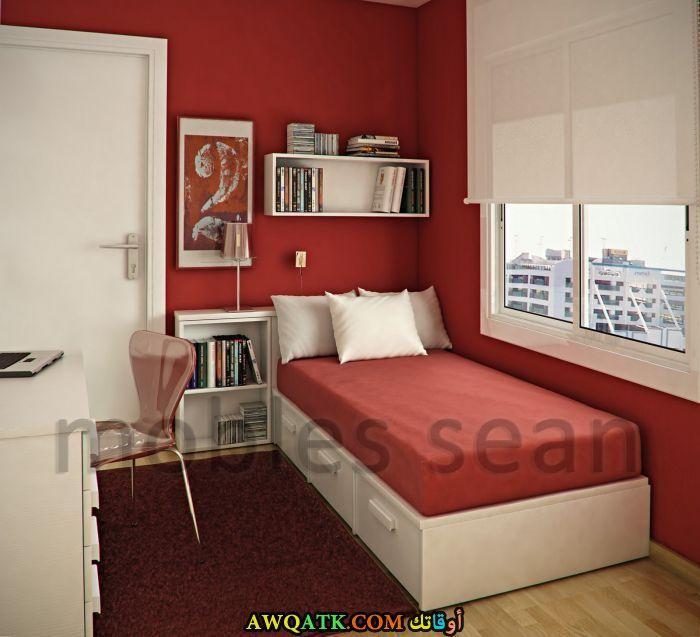 غرف نوم أطفال للمساحات الصغيرة باللون الأحمر والبرتقالي