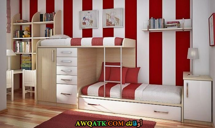 غرفة نوم حمراء تناسب المساحة الصغيرة