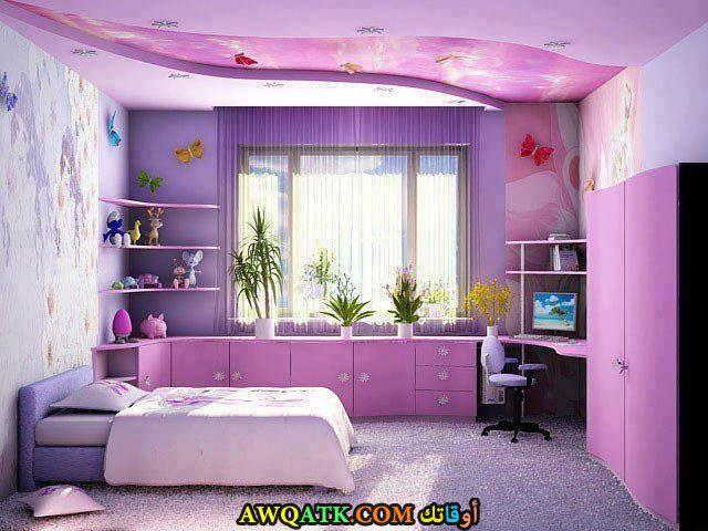 غرفة نوم باللون الموف شيك ورائعة