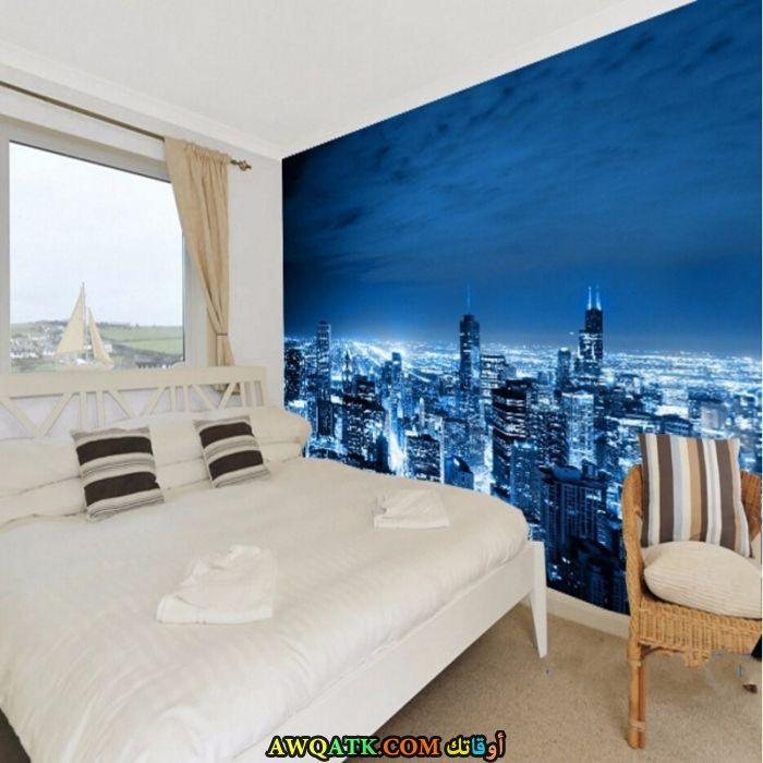 غرفة نوم ياللون الأزرق جميلة