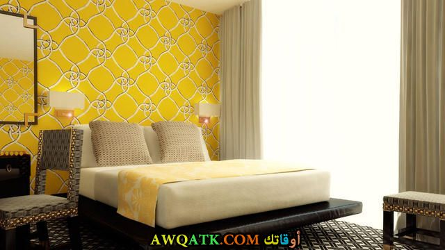 غرفة نوم باللون الأصفر شيك وروعة