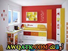 غرفة نوم باللون البرتقالي جميلة