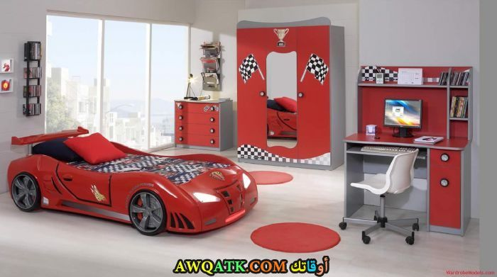 غرفة نوم أطفال حمراء روعة