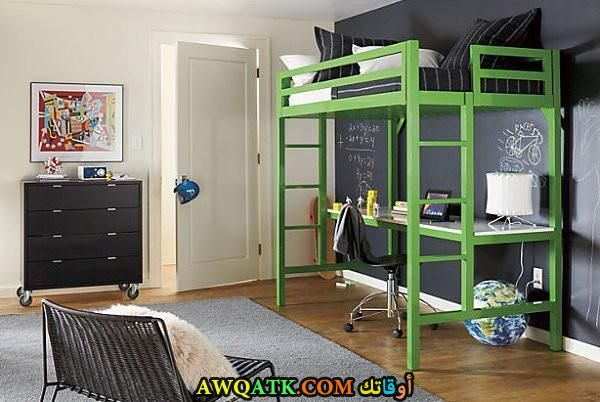 غرفة نوم باللون الأخضر روعة