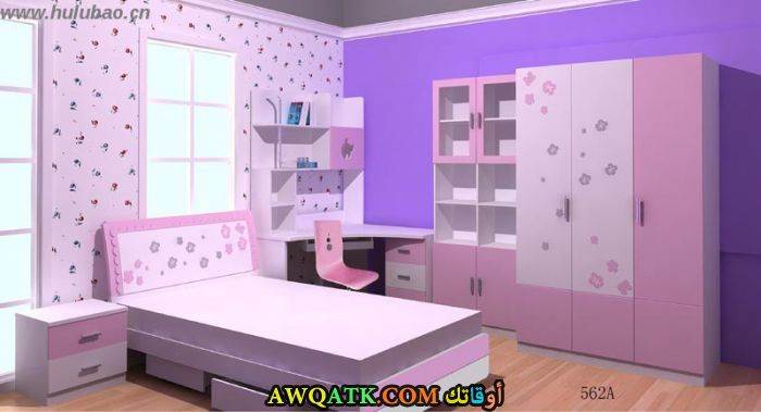غرف نوم أطفال صيني باللون الموف والبينك