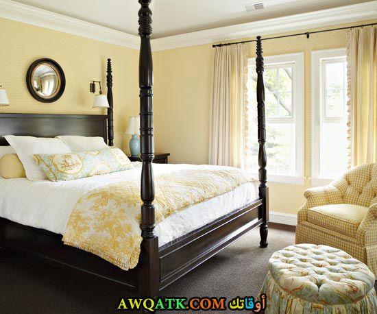غرفة نوم خشب زان صفراء روعة