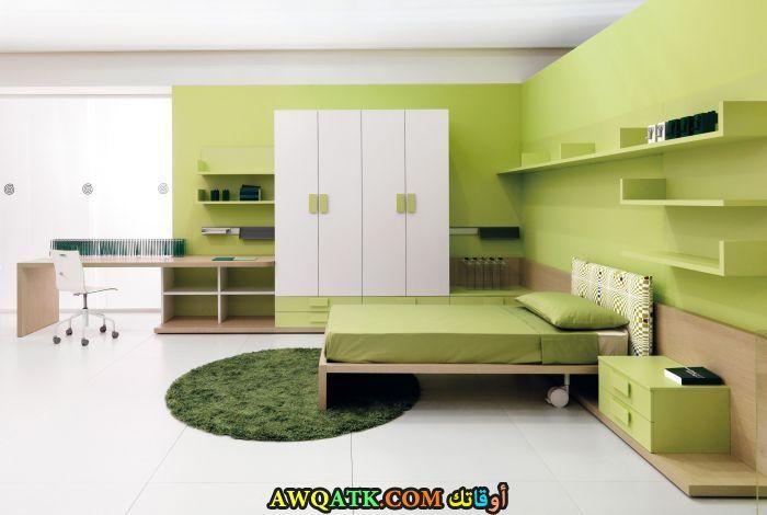 غرفة نوم خضراء شيك جداً
