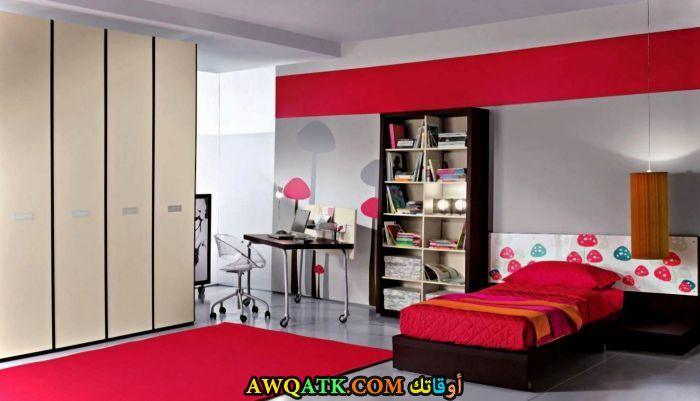 غرفة نوم جميلة جداً حمراء