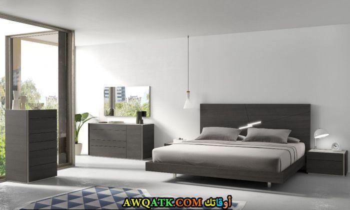 غرفة نوم رائعة رمادية