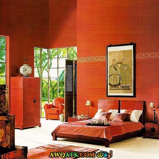 غرفة نوم باللون البرتقالي شيك