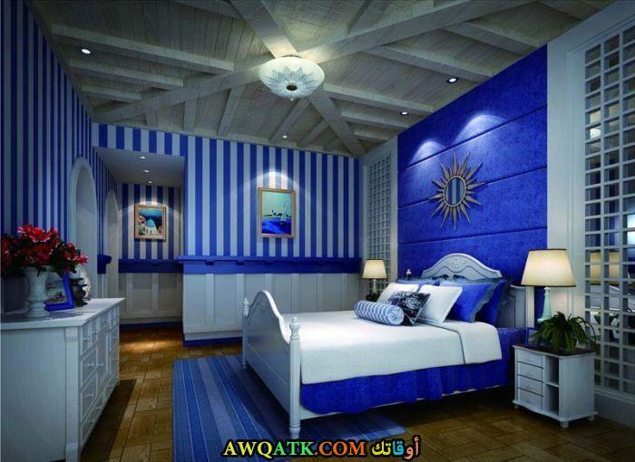 غرفة نوم باللون الأزرق شيك وروعة
