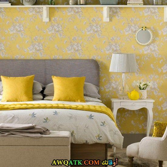 غرفة نوم باللون الأصفر روعة
