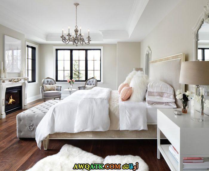 غرفة نوم باللون الأبيض شيك وجميلة